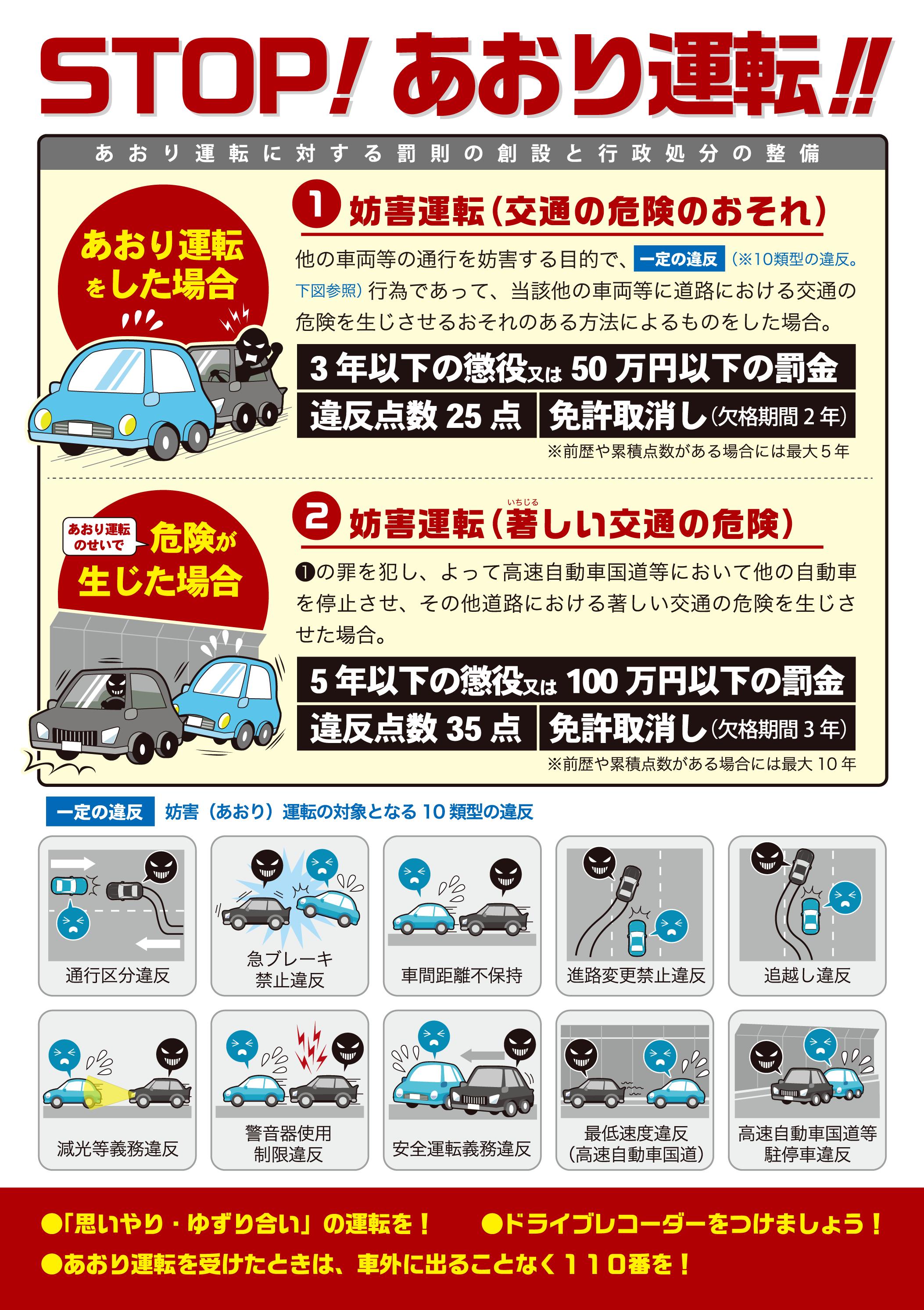 妨害運転罪の創設(あおり運転は犯罪!) | 佐賀県警察本部